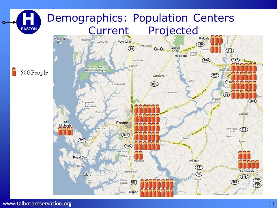 19 Demographics: Population Centers =500 People CurrentProjected