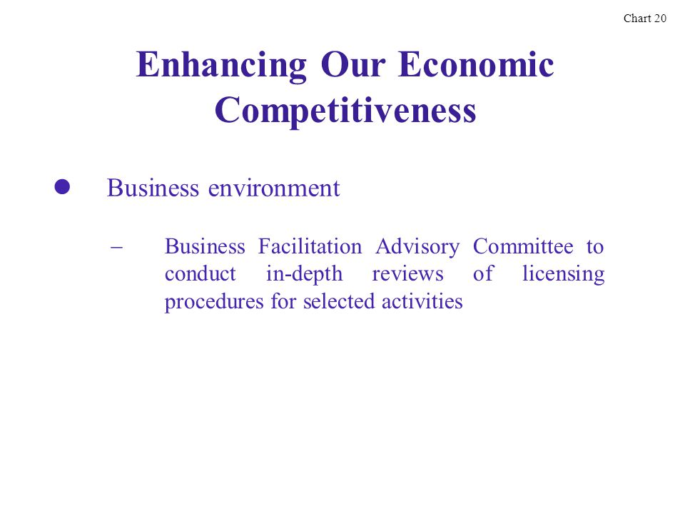 Enhancing Our Economic Competitiveness Business Facilitation Advisory Committee to conduct in-depth reviews of licensing procedures for selected activities Chart 20 Business environment