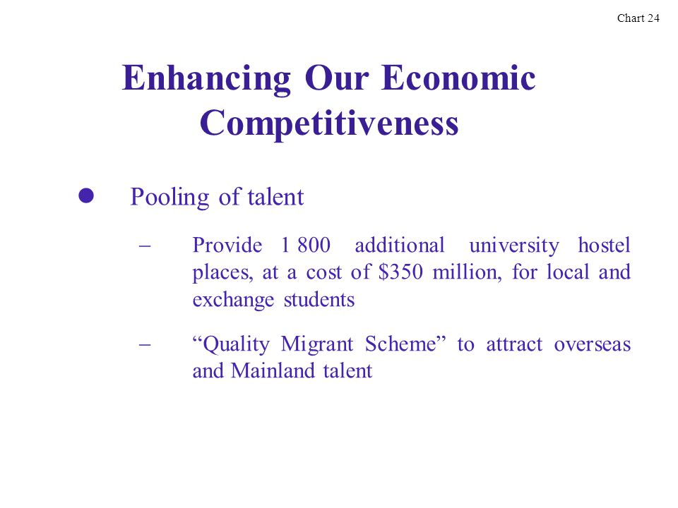 Enhancing Our Economic Competitiveness Pooling of talent Chart 24 Provide 1 800 additional university hostel places, at a cost of $350 million, for local and exchange students Quality Migrant Scheme to attract overseas and Mainland talent