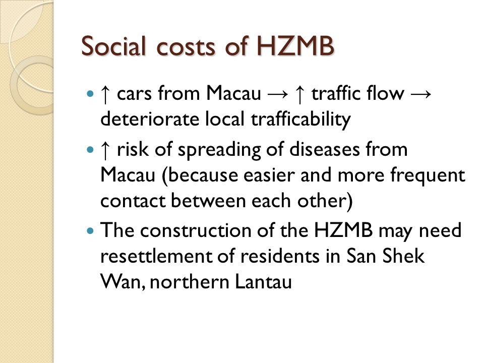 Social costs of HZMB cars from Macau traffic flow deteriorate local trafficability risk of spreading of diseases from Macau (because easier and more f