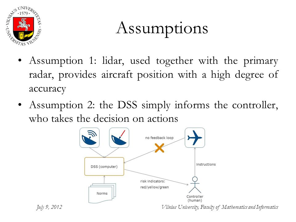 Assumptions Assumption 1: lidar, used together with the primary radar, provides aircraft position with a high degree of accuracy Assumption 2: the DSS simply informs the controller, who takes the decision on actions July 9, 2012Vilnius University, Faculty of Mathematics and Informatics