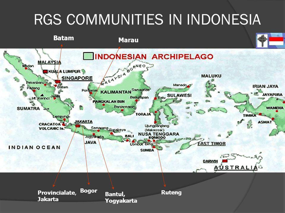 RGS COMMUNITIES IN INDONESIA Provincialate, Jakarta Bogor Bantul, Yogyakarta Ruteng Batam Marau