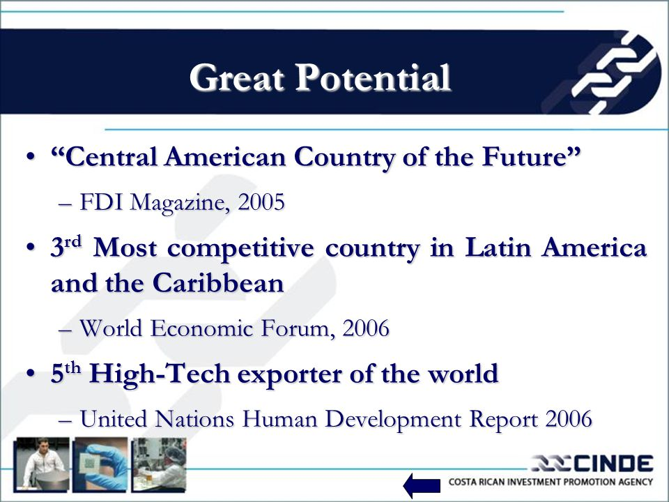 Great Potential Central American Country of the FutureCentral American Country of the Future –FDI Magazine, 2005 3 rd Most competitive country in Latin America and the Caribbean3 rd Most competitive country in Latin America and the Caribbean –World Economic Forum, 2006 5 th High-Tech exporter of the world5 th High-Tech exporter of the world –United Nations Human Development Report 2006