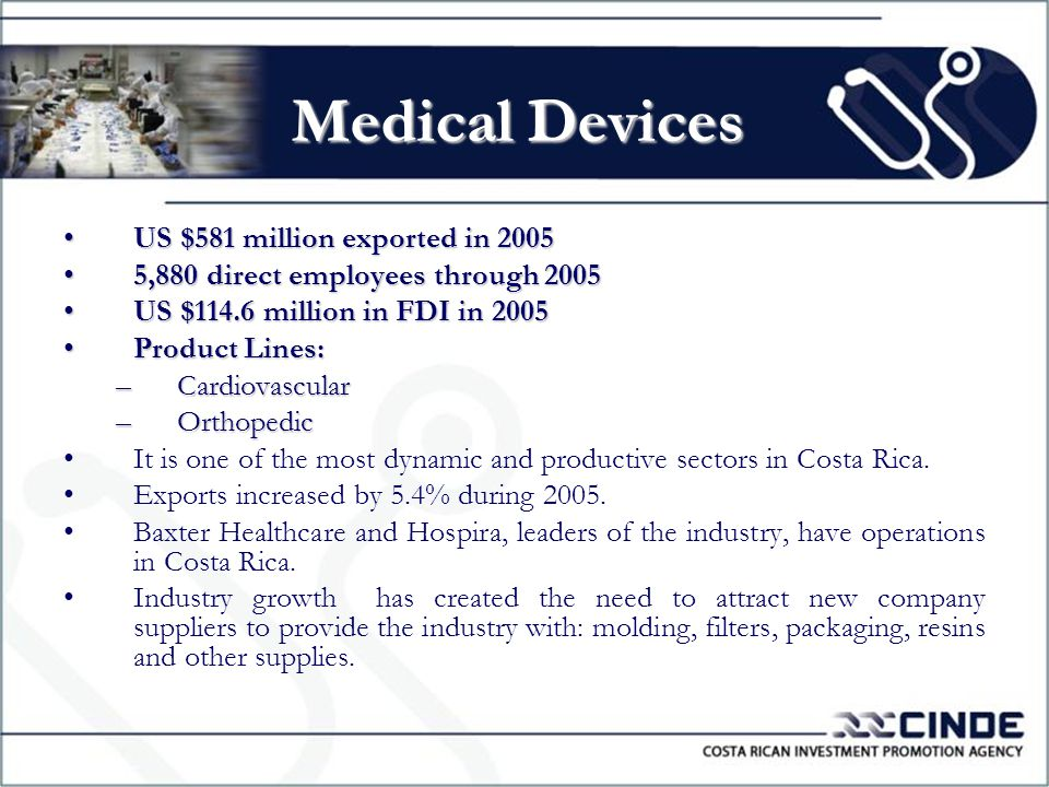 Medical Devices US $581 million exported in 2005US $581 million exported in 2005 5,880 direct employees through 20055,880 direct employees through 2005 US $114.6 million in FDI in 2005US $114.6 million in FDI in 2005 Product Lines:Product Lines: –Cardiovascular –Orthopedic It is one of the most dynamic and productive sectors in Costa Rica.