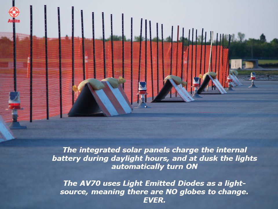 The integrated solar panels charge the internal battery during daylight hours, and at dusk the lights automatically turn ON The AV70 uses Light Emitted Diodes as a light- source, meaning there are NO globes to change.