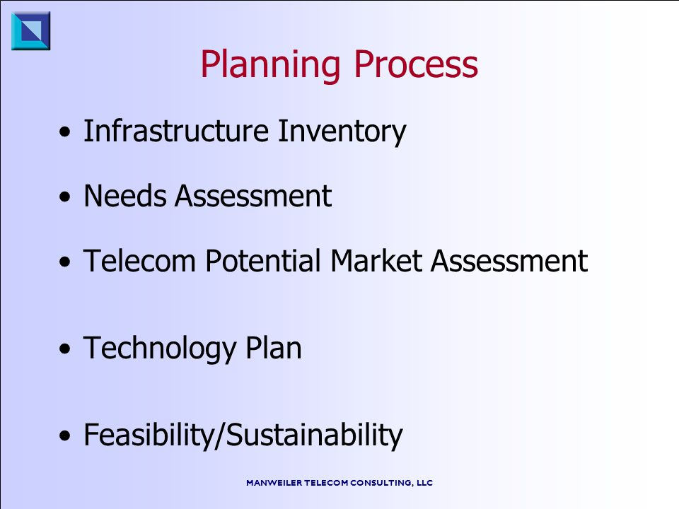 MANWEILER TELECOM CONSULTING, LLC Planning Process Infrastructure Inventory Needs Assessment Telecom Potential Market Assessment Technology Plan Feasibility/Sustainability