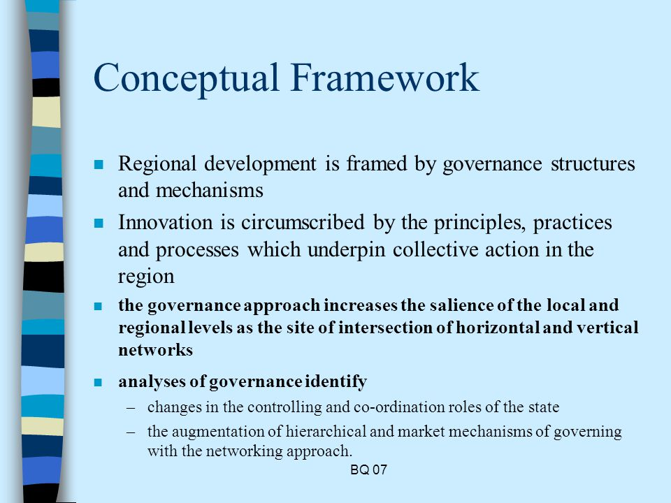 BQ 07 Conceptual Framework n Regional development is framed by governance structures and mechanisms n Innovation is circumscribed by the principles, practices and processes which underpin collective action in the region n the governance approach increases the salience of the local and regional levels as the site of intersection of horizontal and vertical networks n analyses of governance identify –changes in the controlling and co-ordination roles of the state –the augmentation of hierarchical and market mechanisms of governing with the networking approach.