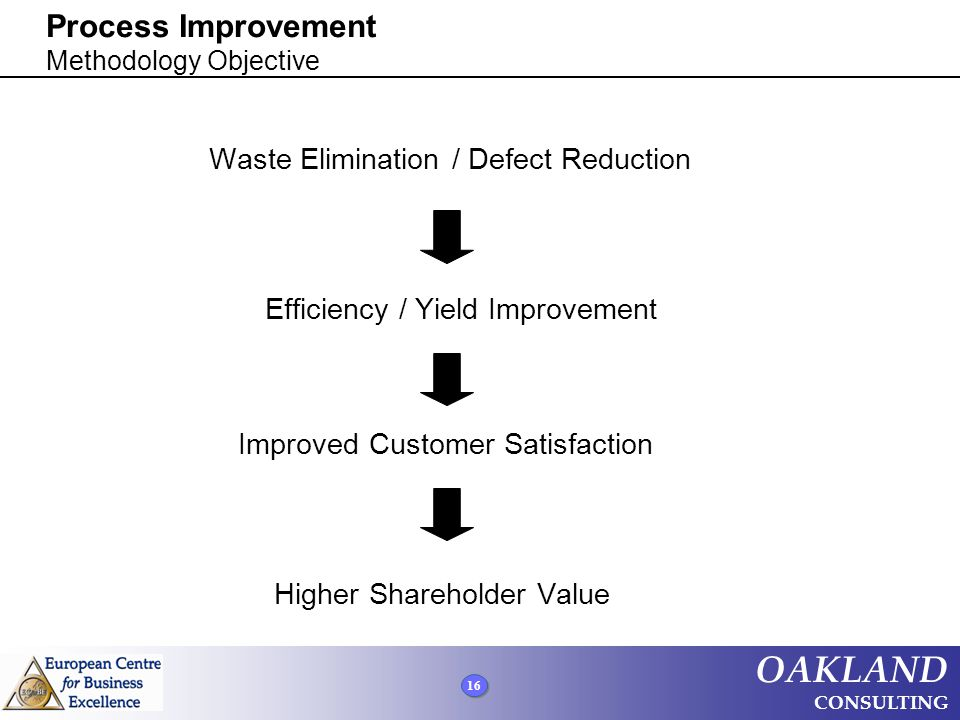 16 OAKLAND CONSULTING Process Improvement Methodology Objective Waste Elimination / Defect Reduction Efficiency / Yield Improvement Improved Customer