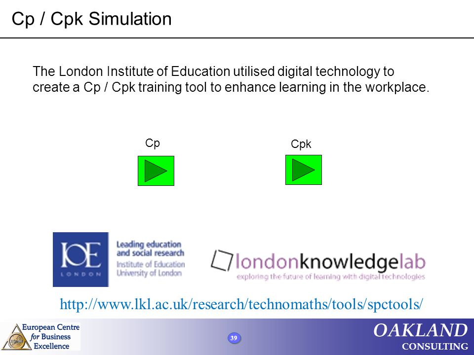 39 OAKLAND CONSULTING Cp / Cpk Simulation http://www.lkl.ac.uk/research/technomaths/tools/spctools/ Cp Cpk The London Institute of Education utilised