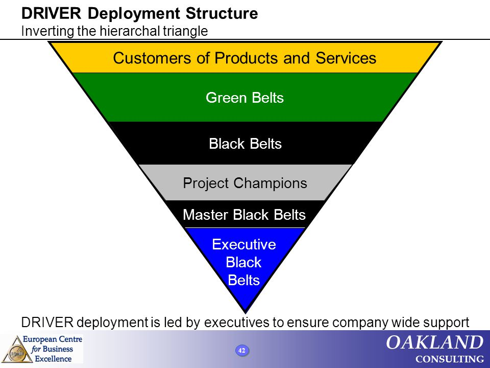 42 OAKLAND CONSULTING Customers of Products and Services Green Belts Black Belts Project Champions Master Black Belts DRIVER Deployment Structure Inve