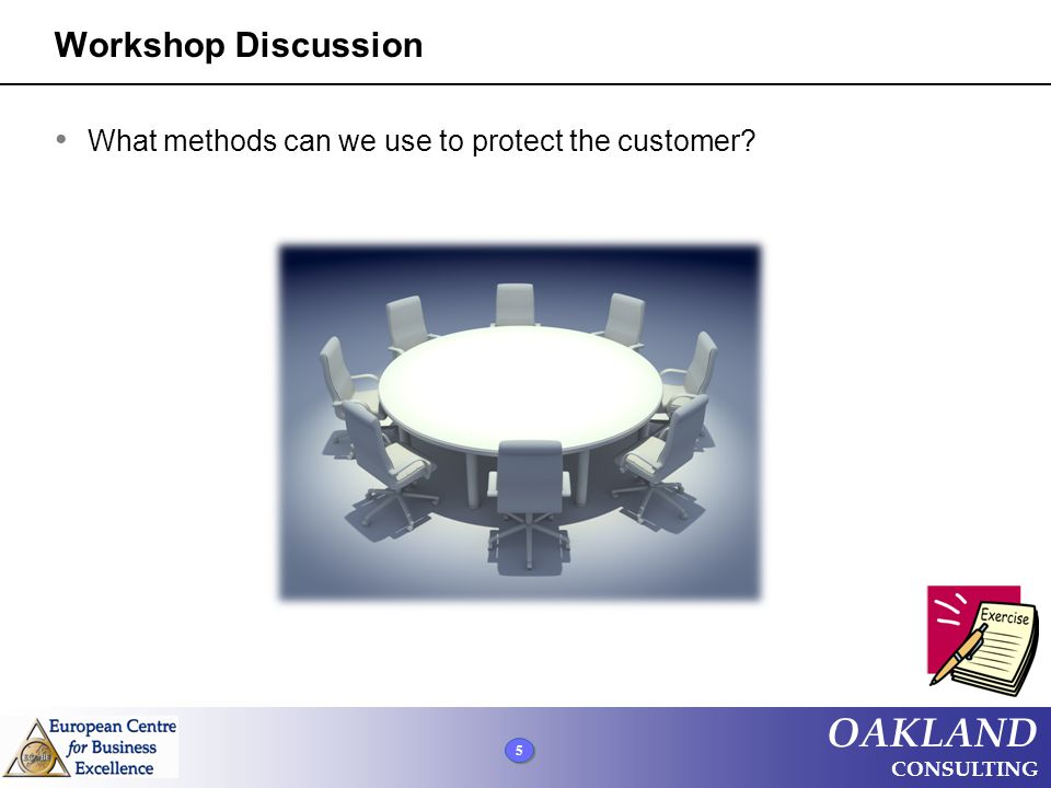 5 5 5 OAKLAND CONSULTING Workshop Discussion What methods can we use to protect the customer?