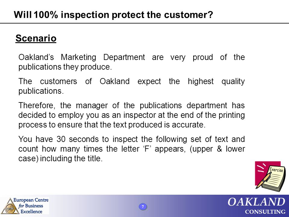 8 8 8 OAKLAND CONSULTING Finished files are the results of many years of sceintific studies combined with the experience of many years of effort F-Test