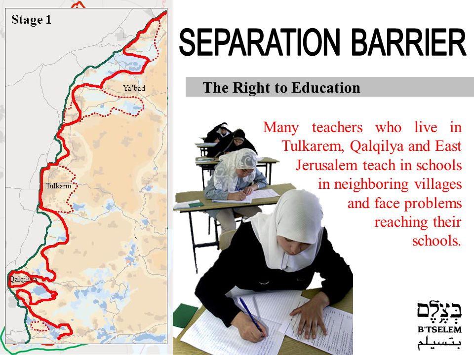 Jerusalem Jericho Hebron Nablus Jenin Tulkarm Qalqiliya Ramallah Bethlehem The Right to Education Many teachers who live in Tulkarem, Qalqilya and East Jerusalem teach in schools in neighboring villages and face problems reaching their schools.