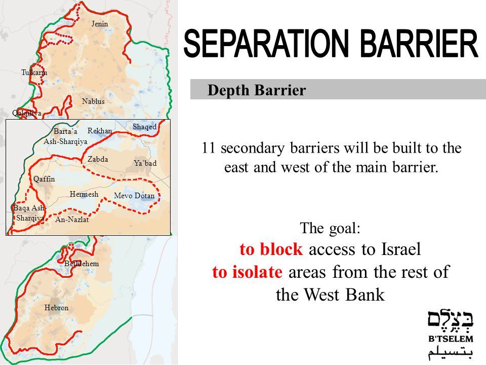 Jerusalem Jericho Hebron Nablus Jenin Tulkarm Qalqiliya Ramallah Bethlehem Depth Barrier 11 secondary barriers will be built to the east and west of the main barrier.