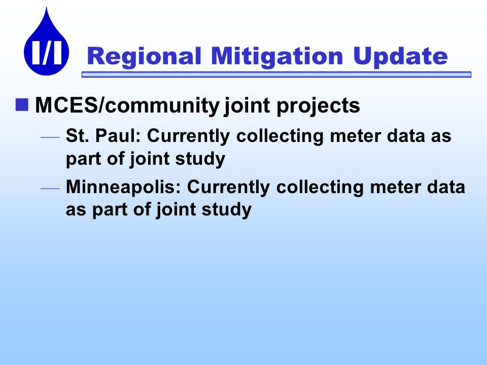 I/I Regional Mitigation Update MCES/community joint projects St.