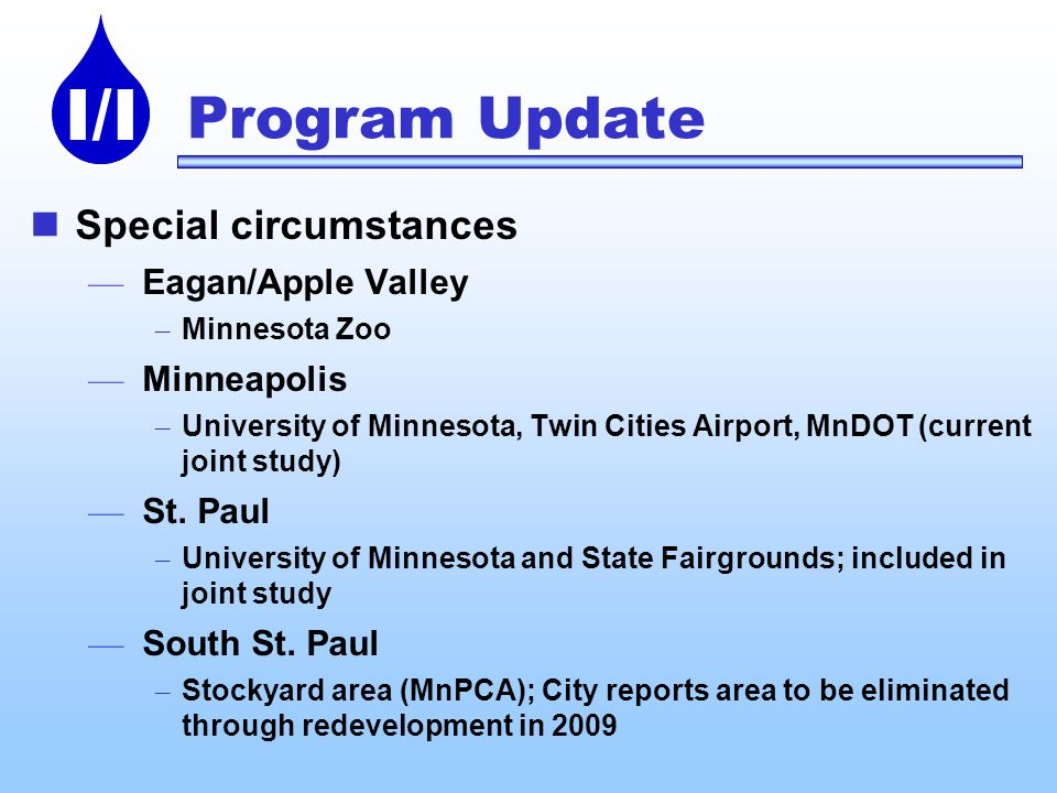 I/I Program Update Special circumstances Eagan/Apple Valley – Minnesota Zoo Minneapolis – University of Minnesota, Twin Cities Airport, MnDOT (current joint study) St.