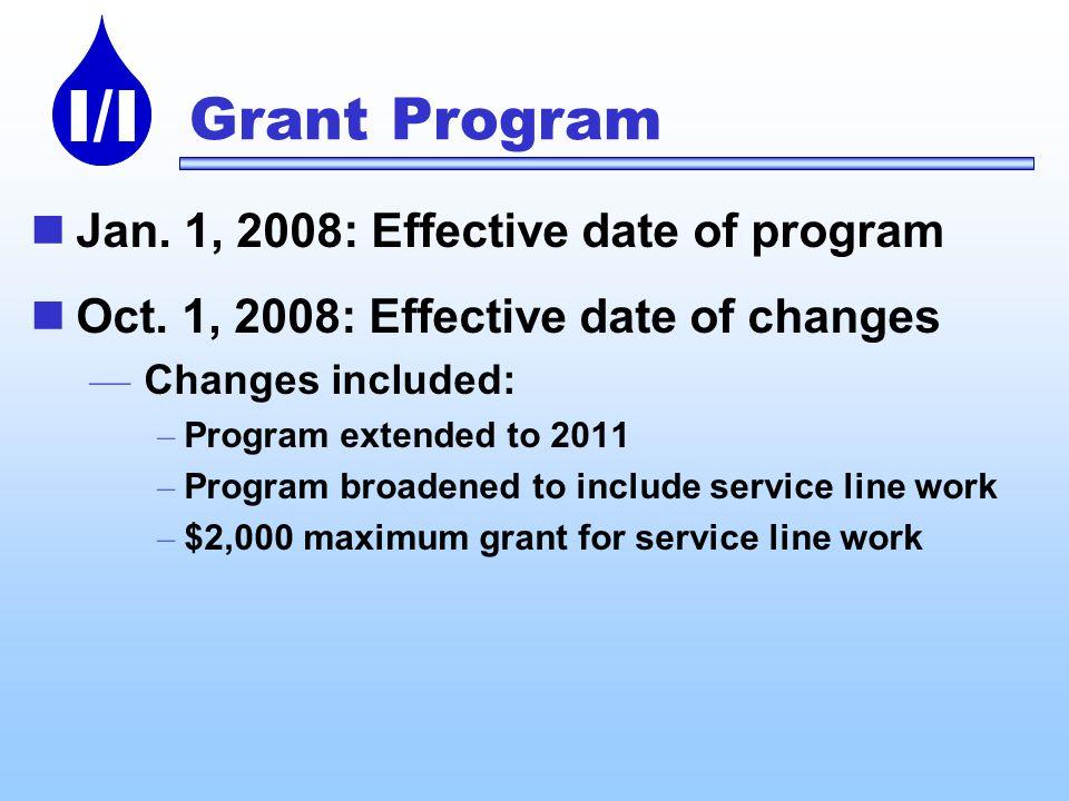 I/I Grant Program Jan. 1, 2008: Effective date of program Oct. 1, 2008: Effective date of changes Changes included: – Program extended to 2011 – Progr