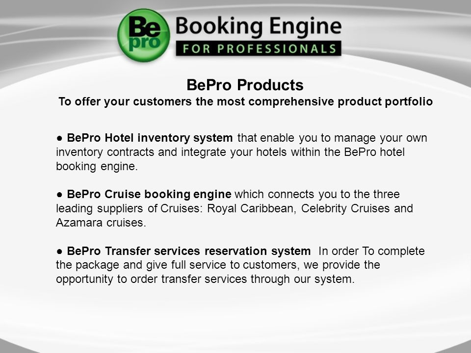 BePro Hotel inventory system that enable you to manage your own inventory contracts and integrate your hotels within the BePro hotel booking engine.