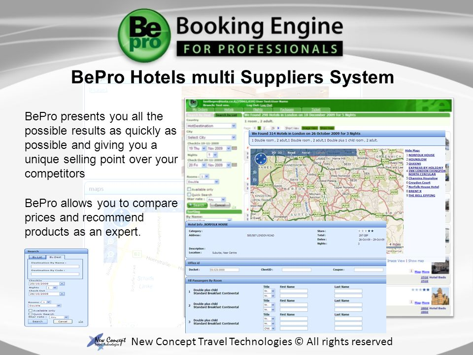 BePro presents you all the possible results as quickly as possible and giving you a unique selling point over your competitors BePro allows you to compare prices and recommend products as an expert.