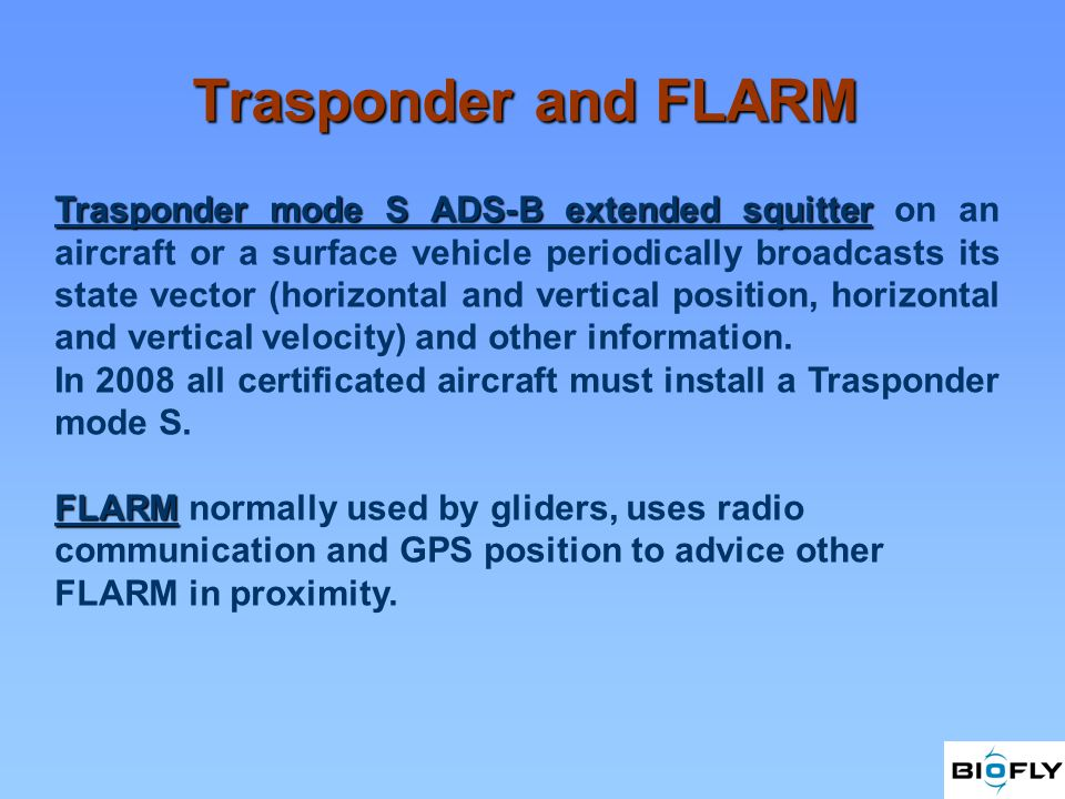 Trasponder and FLARM Trasponder mode S ADS-B extended squitter Trasponder mode S ADS-B extended squitter on an aircraft or a surface vehicle periodically broadcasts its state vector (horizontal and vertical position, horizontal and vertical velocity) and other information.