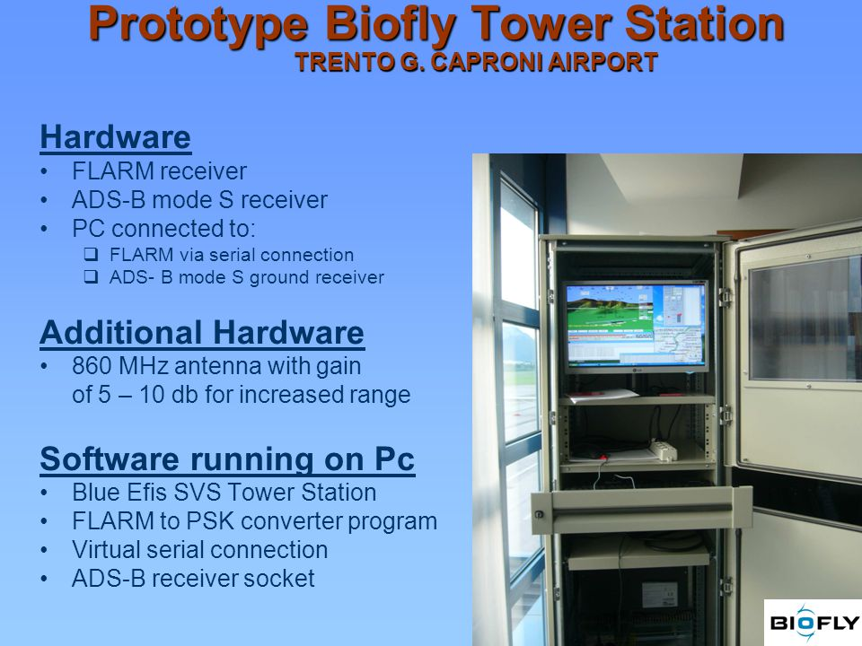 Prototype Biofly Tower Station TRENTO G. CAPRONI AIRPORT Hardware FLARM receiver ADS-B mode S receiver PC connected to: FLARM via serial connection AD