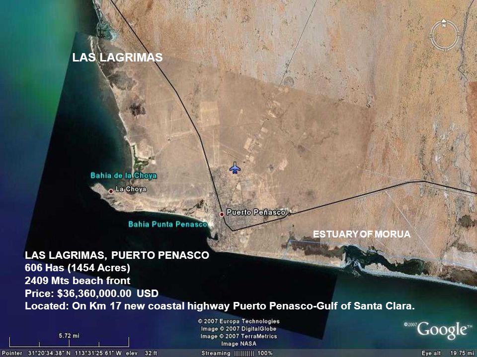 LAS LAGRIMAS ESTUARY OF MORUA LAS LAGRIMAS, PUERTO PENASCO 606 Has (1454 Acres) 2409 Mts beach front Price: $36,360,000.00 USD Located: On Km 17 new coastal highway Puerto Penasco-Gulf of Santa Clara.