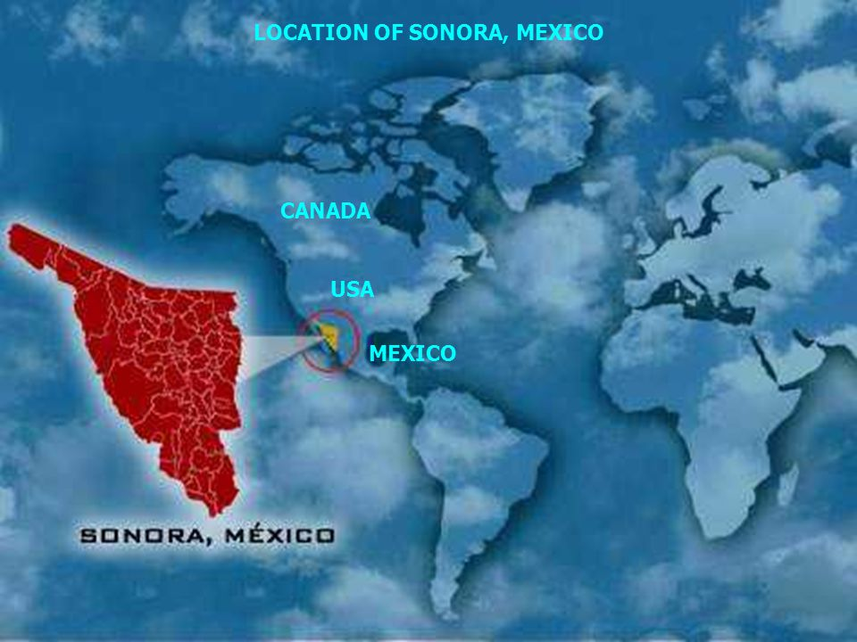 CANADA USA LOCATION OF SONORA, MEXICO MEXICO