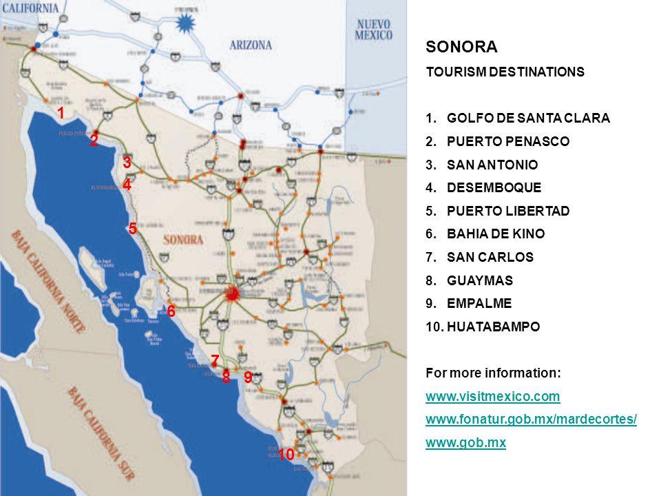 SONORA TOURISM DESTINATIONS 1. GOLFO DE SANTA CLARA 2.