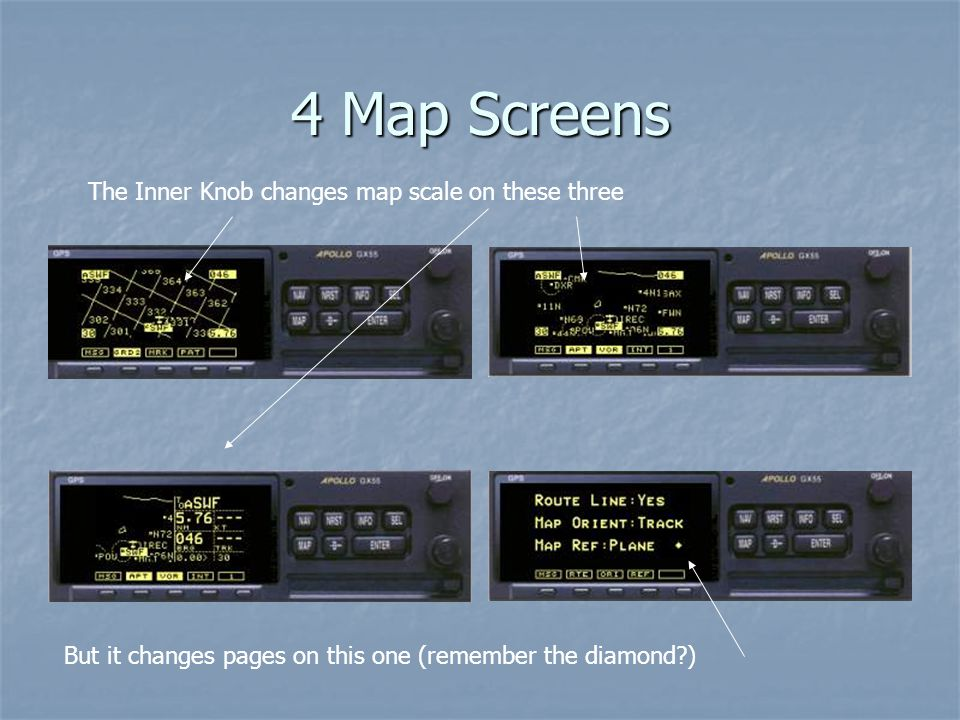 4 Map Screens The Inner Knob changes map scale on these three But it changes pages on this one (remember the diamond?)