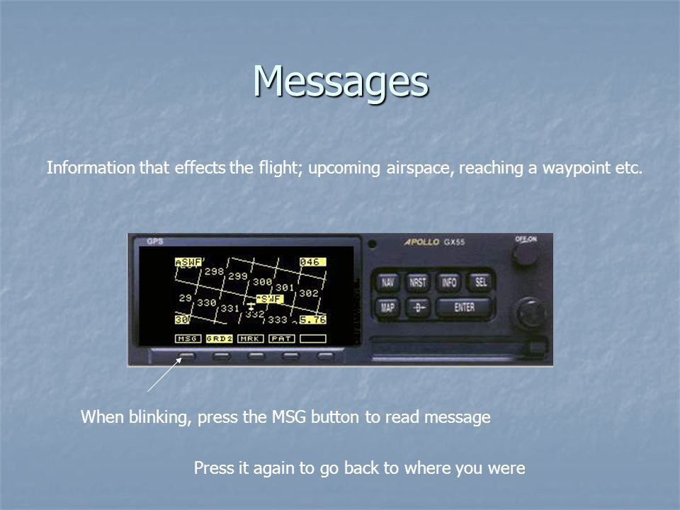 Messages Information that effects the flight; upcoming airspace, reaching a waypoint etc.