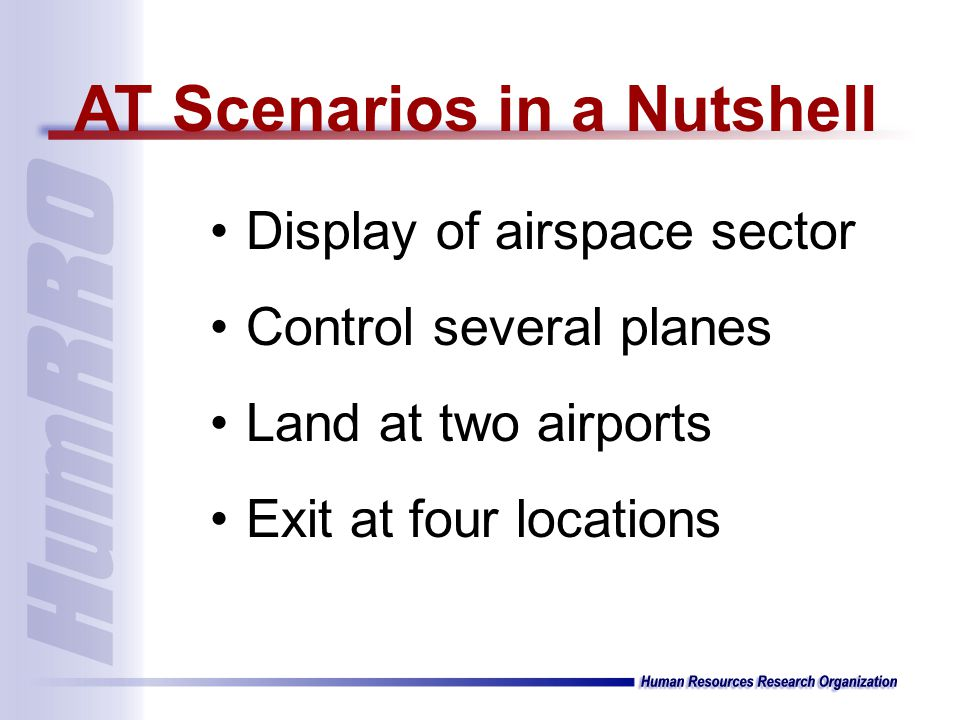 Display of airspace sector Control several planes Land at two airports Exit at four locations AT Scenarios in a Nutshell