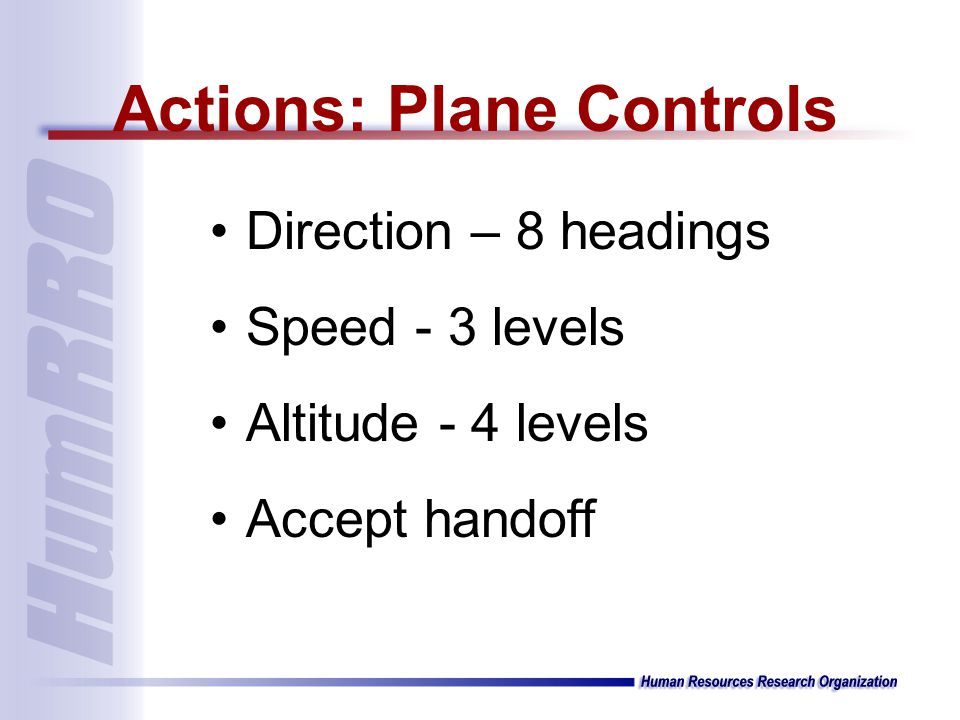 Direction – 8 headings Speed - 3 levels Altitude - 4 levels Accept handoff Actions: Plane Controls