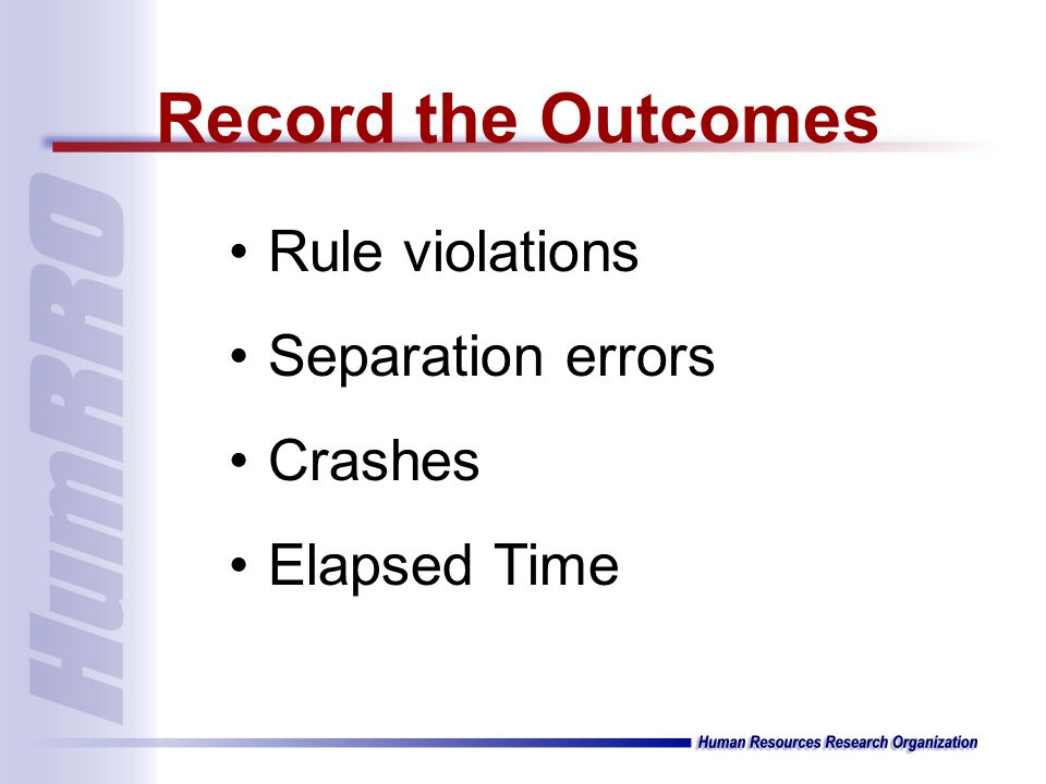 Rule violations Separation errors Crashes Elapsed Time Record the Outcomes