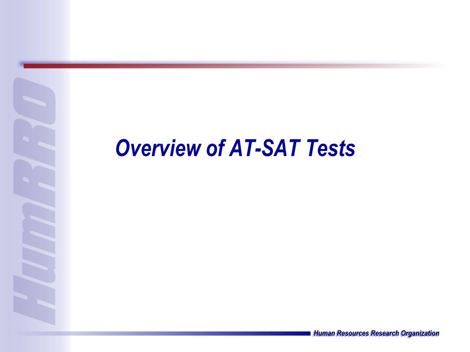 Overview of AT-SAT Tests