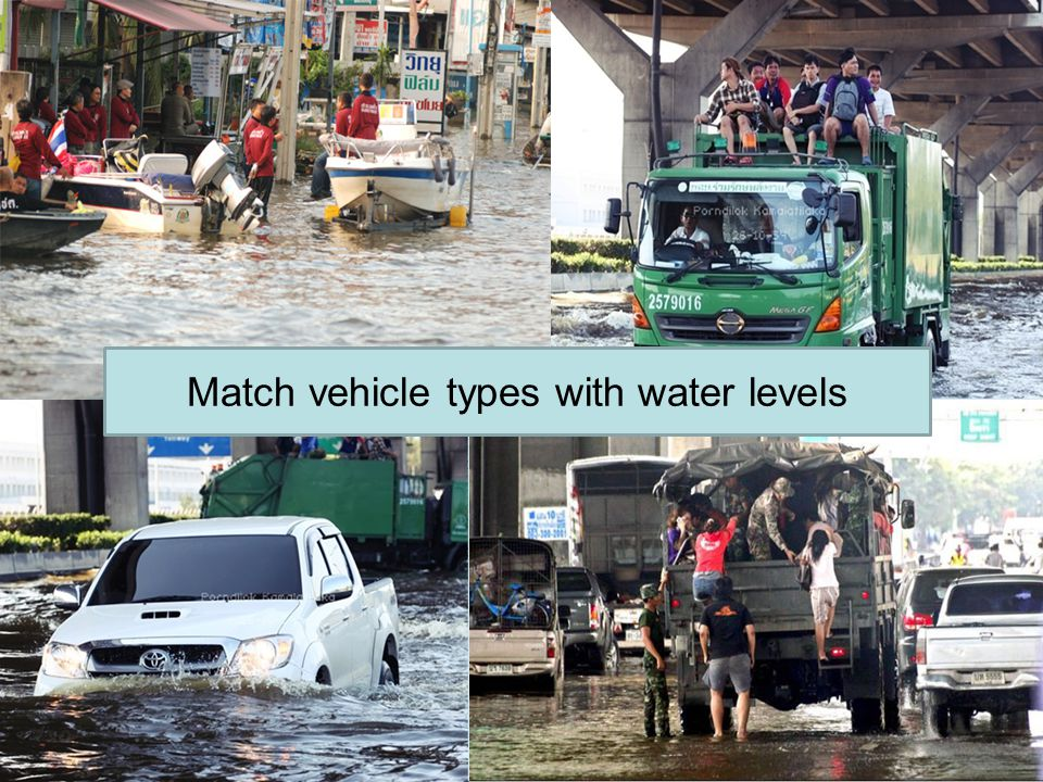 Match vehicle types with water levels