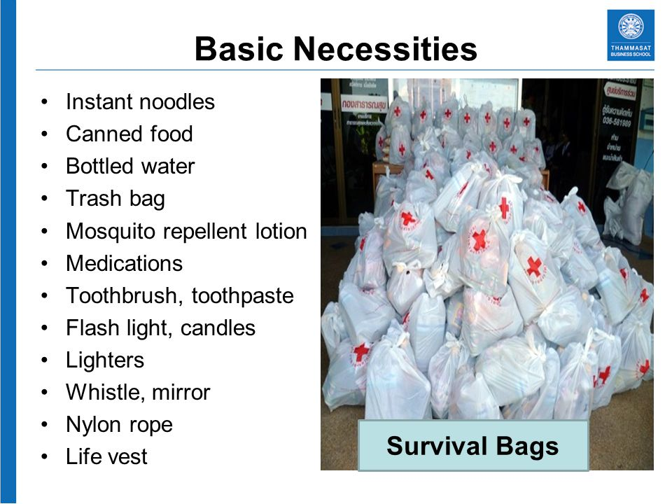 Basic Necessities Instant noodles Canned food Bottled water Trash bag Mosquito repellent lotion Medications Toothbrush, toothpaste Flash light, candles Lighters Whistle, mirror Nylon rope Life vest Women Sanitary napkins Children Milk Diaper Candy Toys Survival Bags