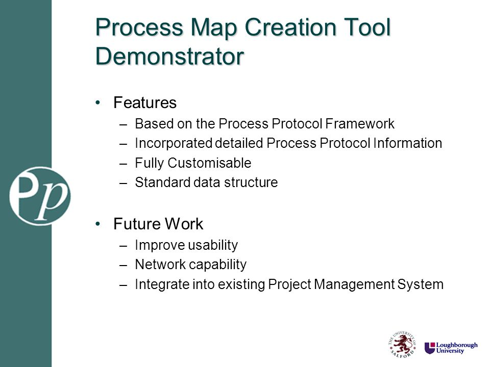 Process Map Creation Tool Demonstrator Features –Based on the Process Protocol Framework –Incorporated detailed Process Protocol Information –Fully Cu