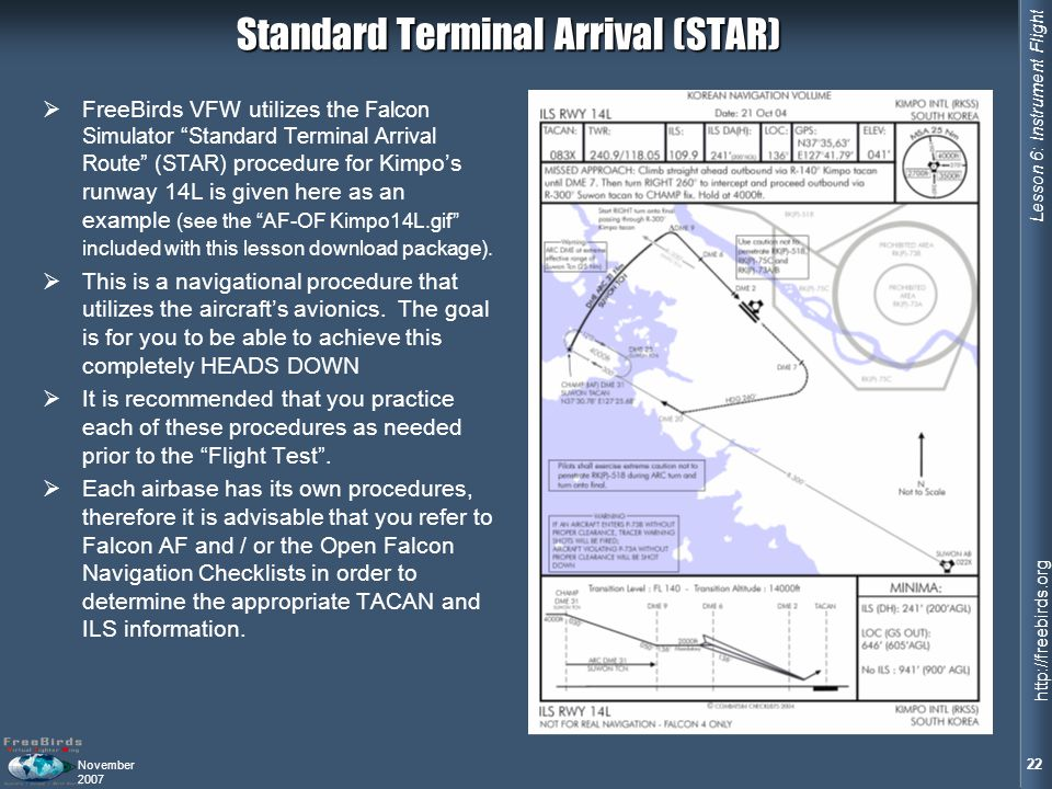 Lesson 6: Instrument Flight 22 http://freebirds.org November 2007 Standard Terminal Arrival (STAR) FreeBirds VFW utilizes the Falcon Simulator Standard Terminal Arrival Route (STAR) procedure for Kimpos runway 14L is given here as an example (see the AF-OF Kimpo14L.gif included with this lesson download package).