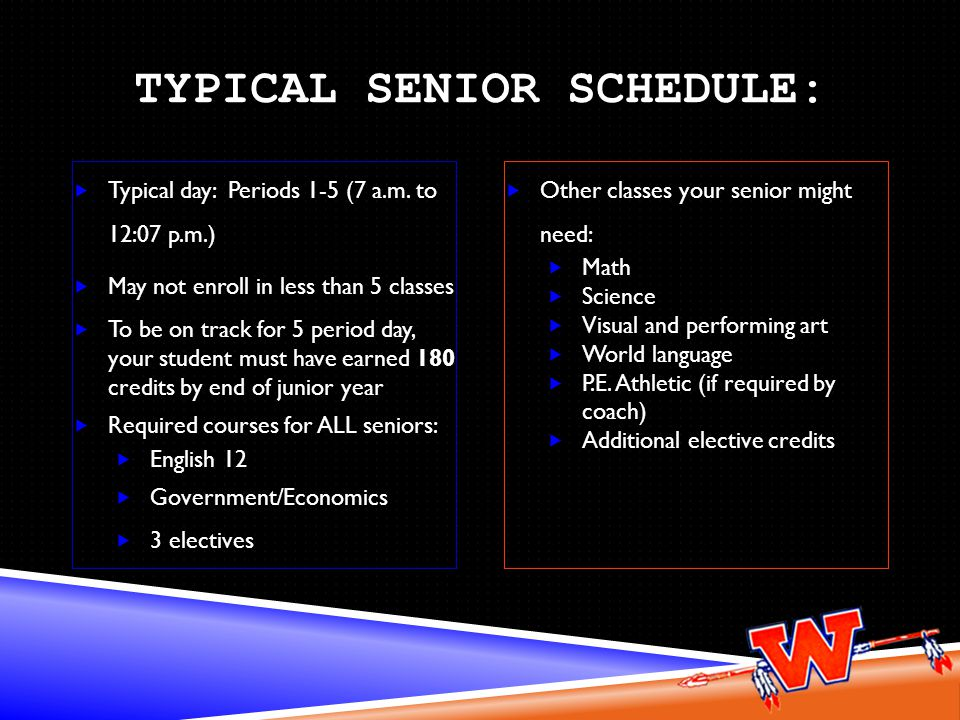 TYPICAL SENIOR SCHEDULE: Typical day: Periods 1-5 (7 a.m.