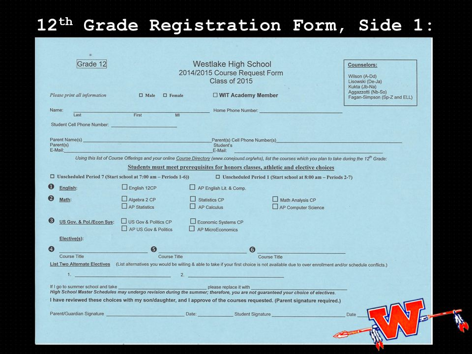 12 th Grade Registration Form, Side 1: