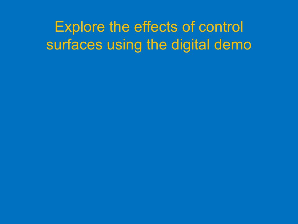 Explore the effects of control surfaces using the digital demo