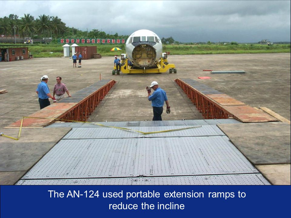 I n t e g r i t y - S e r v i c e - E x c e l l e n c e As of:33 The AN-124 used portable extension ramps to reduce the incline