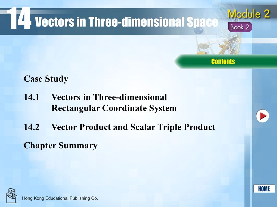 14.1Vectors in Three-dimensional Rectangular Coordinate System 14.2Vector Product and Scalar Triple Product Chapter Summary Case Study Vectors in Thre
