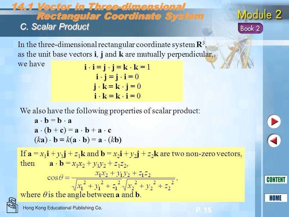 P. 15 14.1 Vector in Three-dimensional Rectangular Coordinate System Rectangular Coordinate System C. Scalar Product In the three-dimensional rectangu