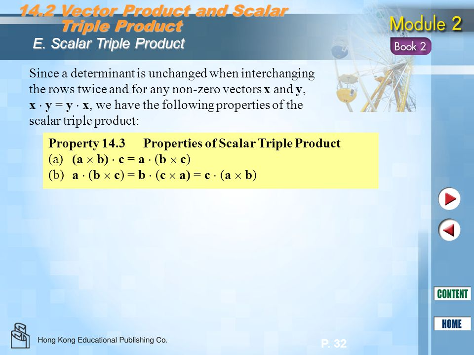 P. 32 14.2 Vector Product and Scalar Triple Product Triple Product E. Scalar Triple Product Property 14.3Properties of Scalar Triple Product (a)(a b)