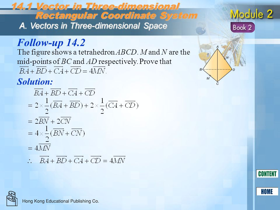 Follow-up 14.2 The figure shows a tetrahedron ABCD. M and N are the mid-points of BC and AD respectively. Prove that Solution: 14.1 Vector in Three-di