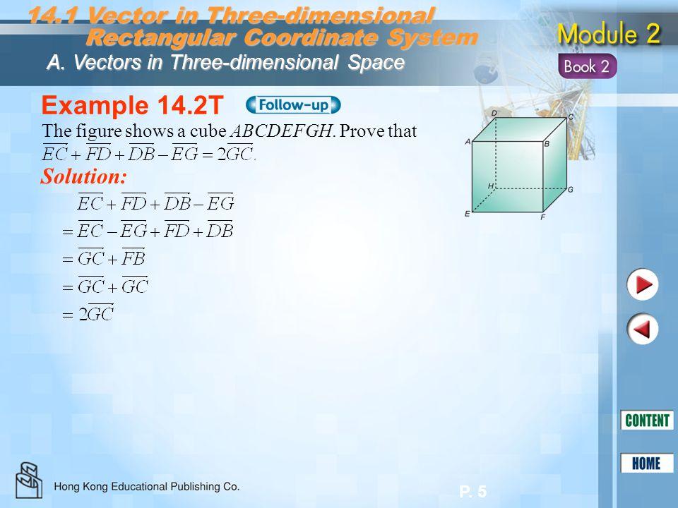 P. 5 Example 14.2T Solution: 14.1 Vector in Three-dimensional Rectangular Coordinate System Rectangular Coordinate System A. Vectors in Three-dimensio