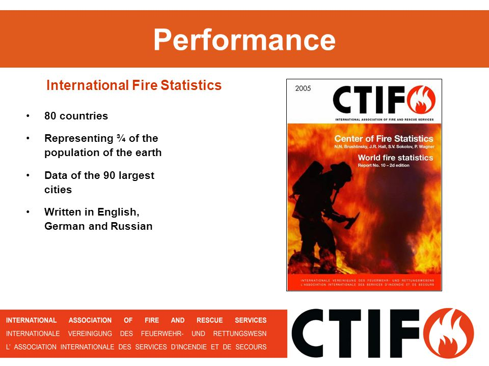 Performance 80 countries Representing ¾ of the population of the earth Data of the 90 largest cities Written in English, German and Russian International Fire Statistics