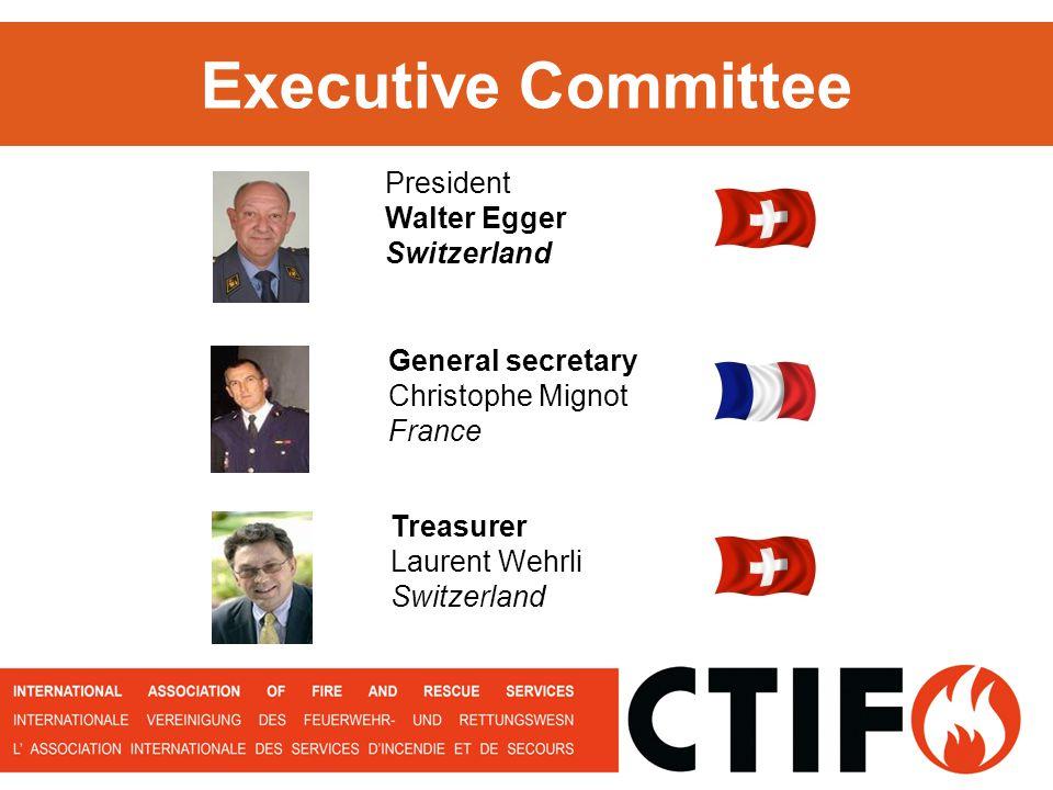 President Walter Egger Switzerland General secretary Christophe Mignot France Treasurer Laurent Wehrli Switzerland