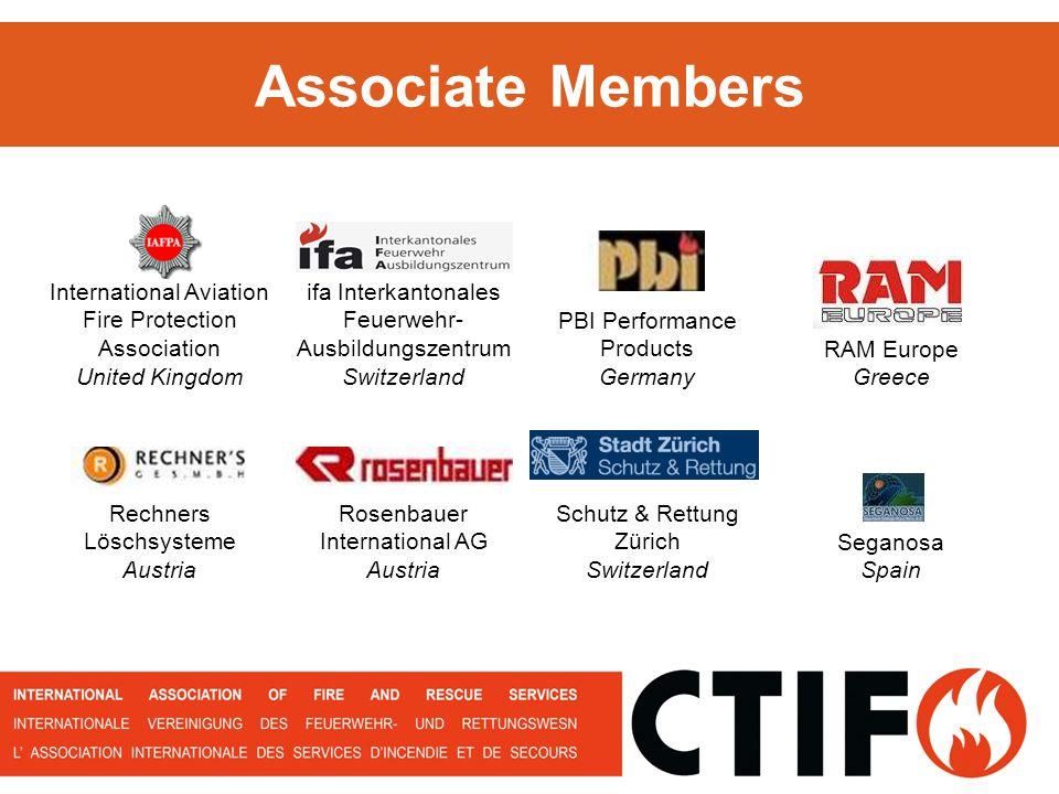 Associate Members International Aviation Fire Protection Association United Kingdom ifa Interkantonales Feuerwehr- Ausbildungszentrum Switzerland PBI